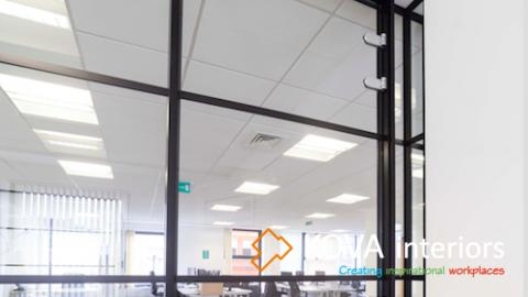 Frameless glass door (Lockable) with overhead panel