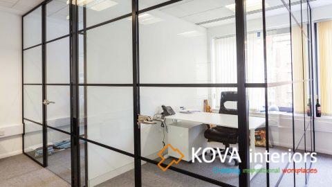 crittall black glass partitions