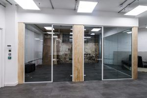 glass partitions with door frames