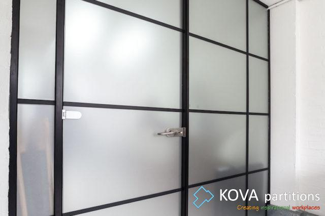 Industrial Style, Black Framed Single Glass Wall, Kova Partitions