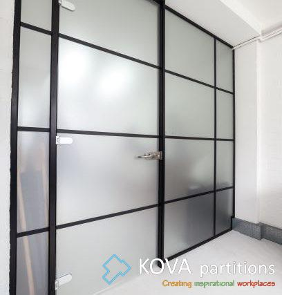Warehouse Style Glass Wall Black Panelled Glass